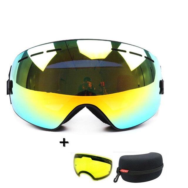 1dec7cdd569d Ski snowboard brand ski goggles 2 double lens UV400 anti-fog spherical ski  glasses skiing men women snow goggles +Lens+Box Set