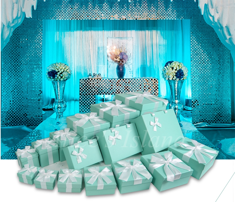 7pcs Set Tiffany Blue Ideas Wedding Decoration Boxes Theme Wedding