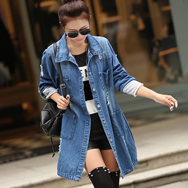 Women Print Medium Long Denim Jackets Outerwear for Women Denim   Coat   Spring Loose Broken Hole Casual Female Cowboy Jacket