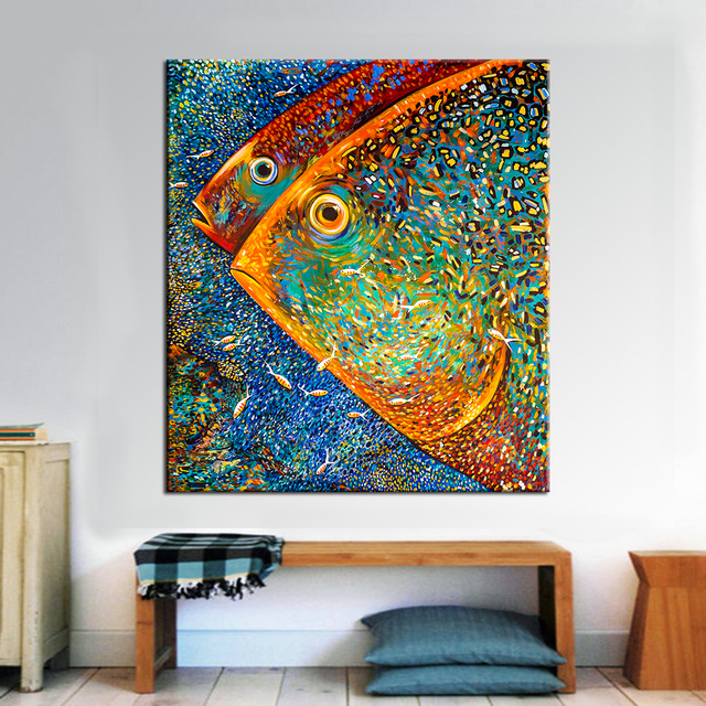 QK ART Oil Painting Abstract Posters and Prints no Frame Wall Pictures for Living Room Animal Poster on the Canvas Painting