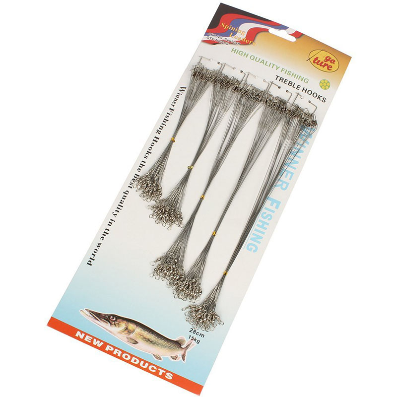 100pcs Stainless Steel Fishing Trace Lure Leader Wire Spinner 16/18/22/24/28 CM ALS88