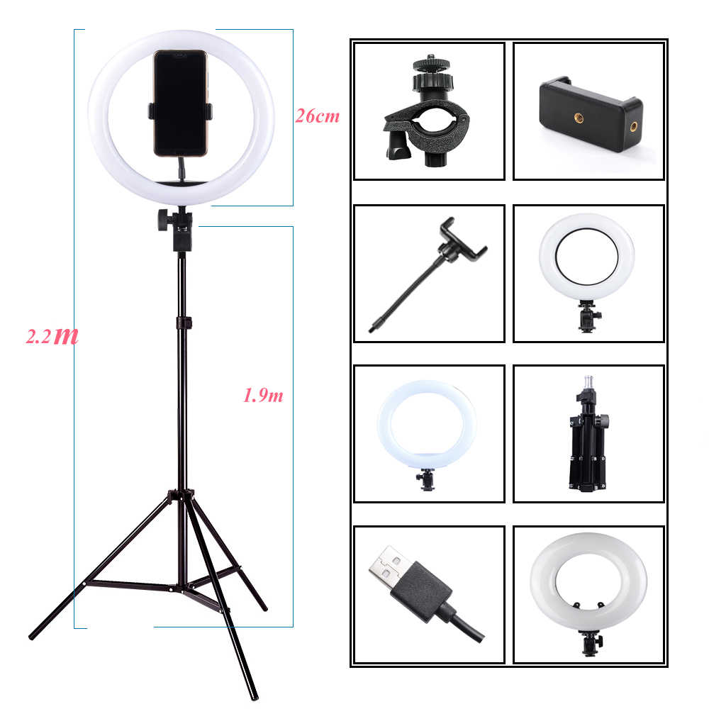 Photography Dimmable LED Selfie Ring Light Youtube Video Live 3200-5500K Photo Studio Light With Phone Holder, USB Plug & Tripod