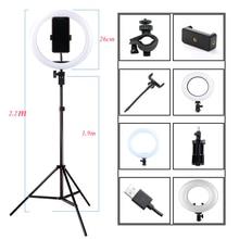การถ่ายภาพ Dimmable LED Selfie แหวนแสงวิดีโอ YouTube Live 3200 5500K สตูดิโอถ่ายภาพแสงกับผู้ถือโทรศัพท์,ปลั๊ก USB และขาตั้งกล้อง