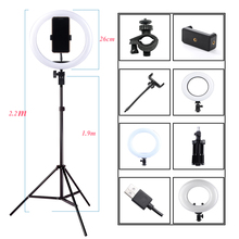 사진 Dimmable LED Selfie 링 라이트 Youtube 비디오 라이브 3200 5500K 사진 스튜디오 라이트 전화 홀더, USB 플러그 및 삼각대