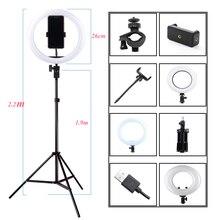 التصوير الفوتوغرافي عكس الضوء LED Selfie مصباح مصمم على شكل حلقة يوتيوب فيديو لايف 3200 5500K صور إضاءة الاستوديو مع حامل هاتف ، USB التوصيل و ترايبود