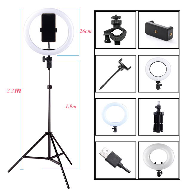 Photography Dimmable LED Selfie Ring Light Youtube Video Live 3200 5500K Photo Studio Light With Phone Holder, USB Plug & Tripod