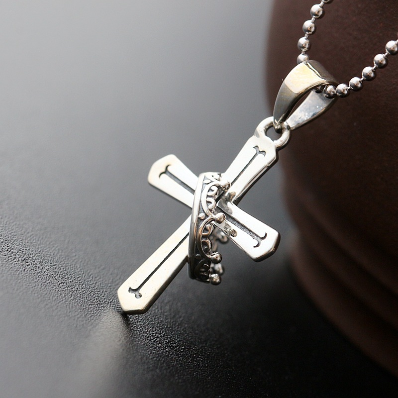 Sterling Silver Jewelry Wholesale S925 Sterling Silver Small Cross Silver Pendant Retro Thai Silver Pendants Men And Women