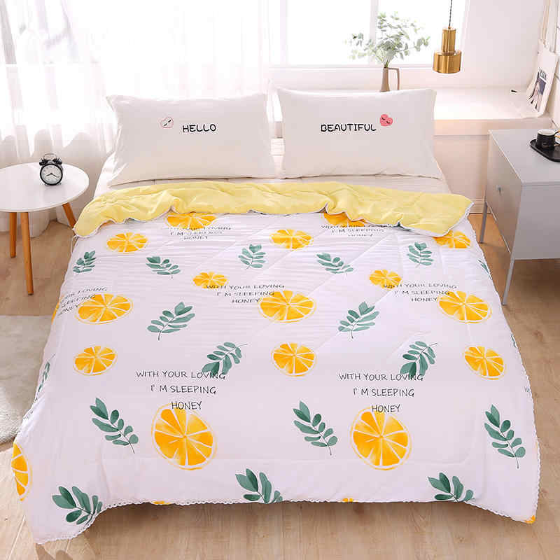 Soft Skin-friendly Summer Duvet Lemon Pattern Washed Cotton Thin Quilt Children Adults Duvet Pillowcase Wholesale (200x230cm)