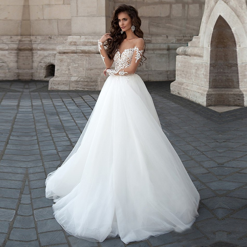 alice recommend full sleeve wedding dress gowns princess 2017 country western bridal backless tulle turkey vestido