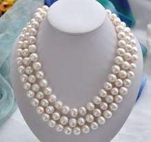 Jewelry Pearl Necklace 50 inch Huge 11-13MM south sea white baroque pearl necklace 925silver Gold Clasp Free Shipping(China)
