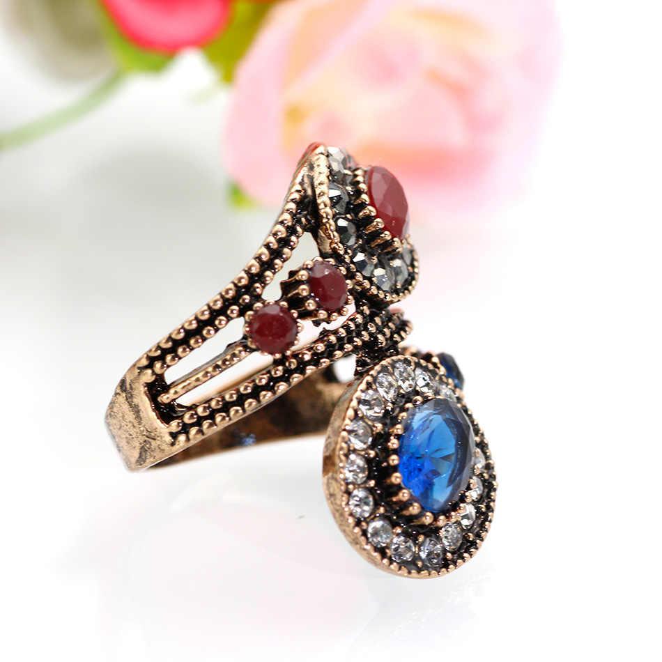 ใหม่โบราณตุรกีแหวน Retro Gold สี Rhinestone Hollow Out ดอกไม้คู่ไขลานแหวนความงามคลาสสิกเครื่องประดับของขวัญ