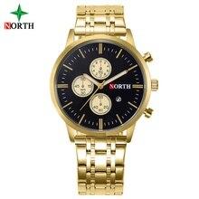 North Fashion Business Gold Watch Men Calendar Stainless Steel Waterproof Man Dress Watch Luxury Gift Male Clock 6032IPG