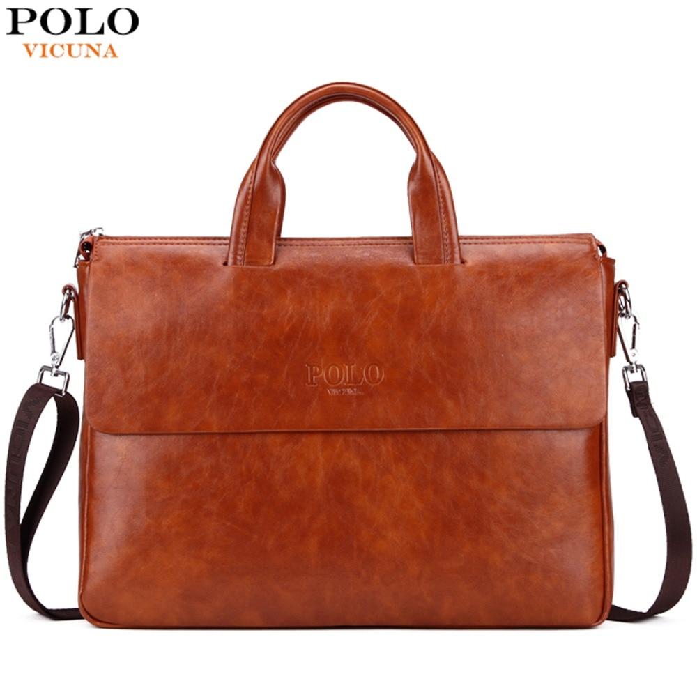 VICUNA POLO Fashion Newest Mens Business Laptop Bag Cover Design Men Leather Briefcase bolsas Large Capacity Man bolsa de couro mystery mdr 830hd
