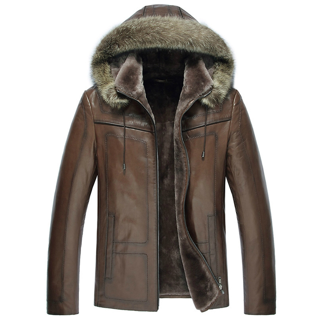 pas mal 89fcc 006df € 691.44 |Livraison gratuite nouveau hiver hommes véritable peau de mouton  en cuir manteau en cachemire doublure de fourrure veste détachable à ...