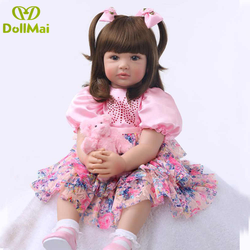 Large size 60cm reborn toddler silicone baby doll vinyl princess girl babies doll gift bebes reborn bonecas toys for child