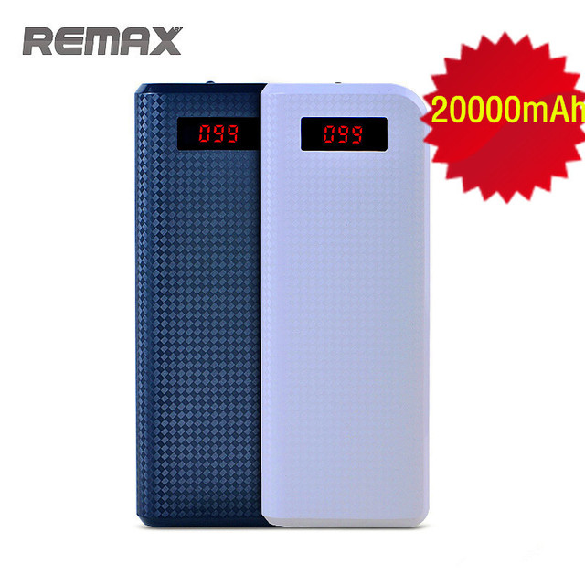 REMAX Proda Power Bank 20000mAh Portable Dual USB LED Light Powerbank External Battery Charger Backup for iPhone HTC Phones