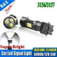 2 шт. 3157 3156 Canbus LED 21 SMD 3030 автомобилей светодиодные лампы P27W P27/7 Вт стоп-сигнал поворота источник света парковка Авто 12 В 24 В белый