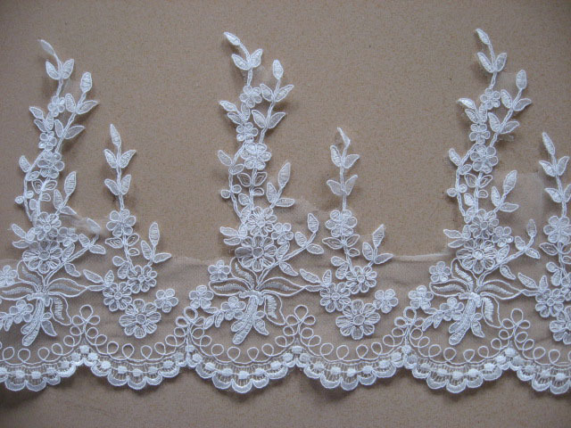 Ivory corded wedding motif bridal lace applique floral lace