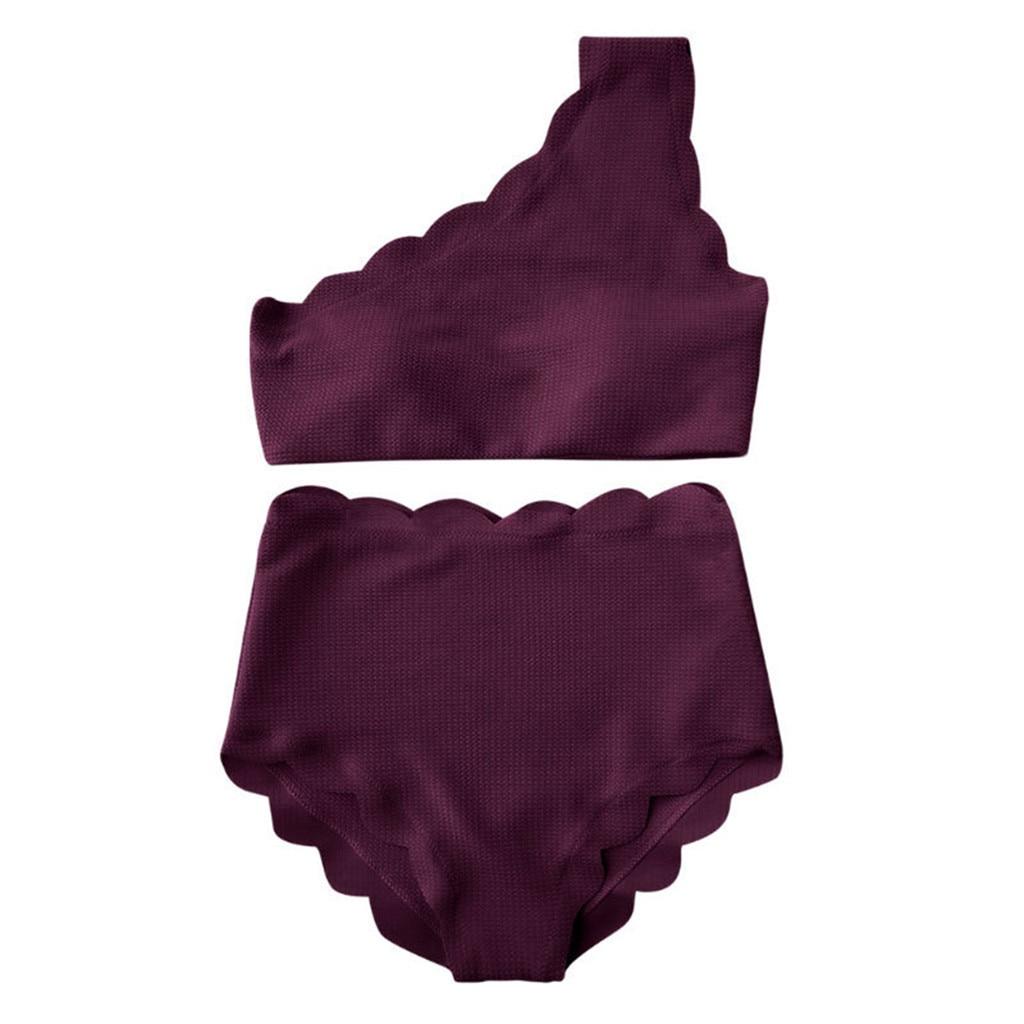 Maillot de bain deux pièces Vintage pour femmes, taille haute, garniture festonnée, asymétrique épaule dénudée, Bikini, # G20, 2019
