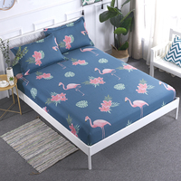 1pcs 100% Cotton Printed Solid Fitted Sheet Mattress Cover Four Corners With Elastic Band Bed Sheet