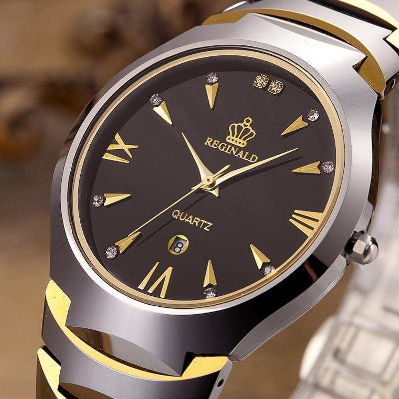 Tungsten Steel Mens Watches Top Brand Luxury Reginald Sport Watch For Men Business Quartz Fashion Causal Watch relogio masculino цена