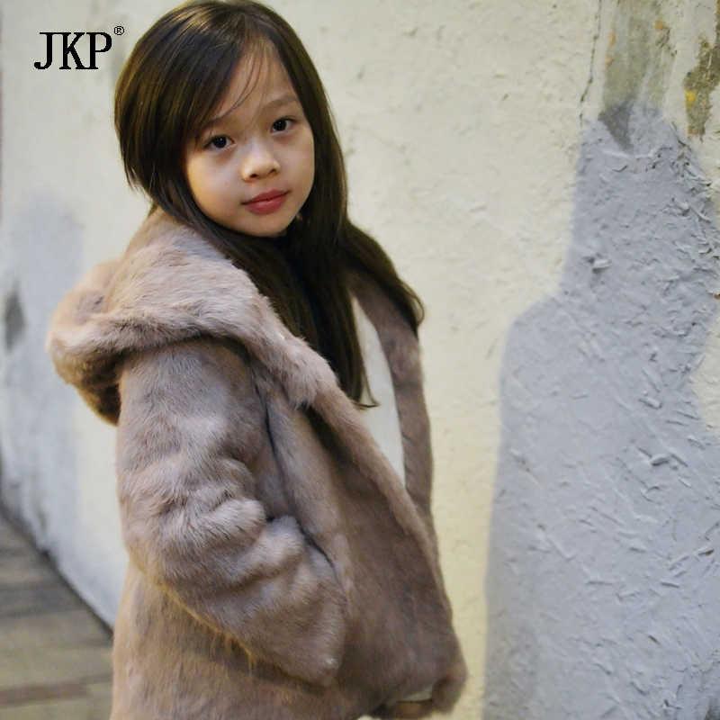 2018 New Women Fashion Real Rabbit Fur Coat Mandarin Collar Children Rabbit Fur Coat Jacket
