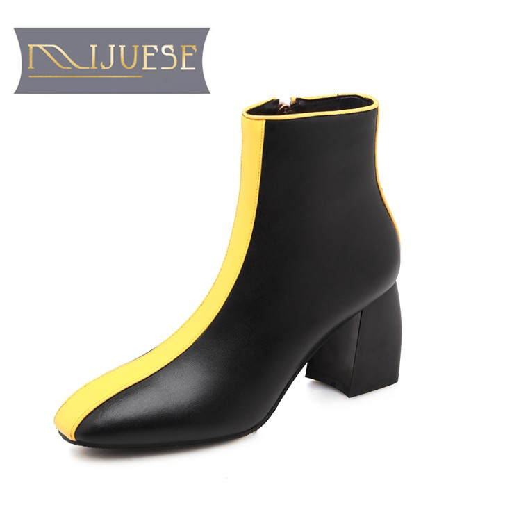MLJUESE 2018 women ankle boots cow leather yellow color square toe zippers autumn spring mixed colors