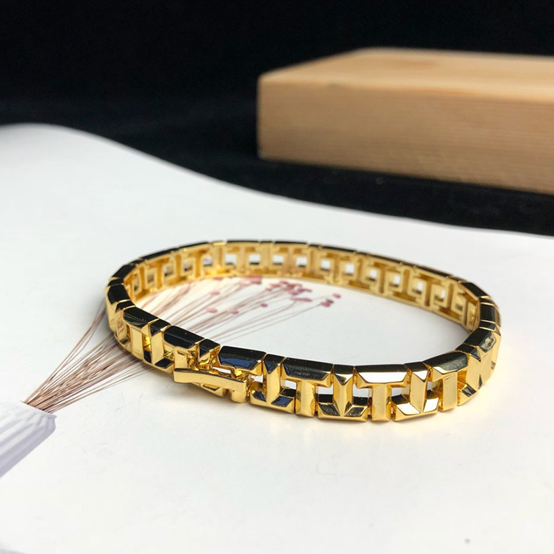 New T Brand Solid Silver Jewelry 925 Bracelet T Letter Around Gold Color Bracelet Fashion Party