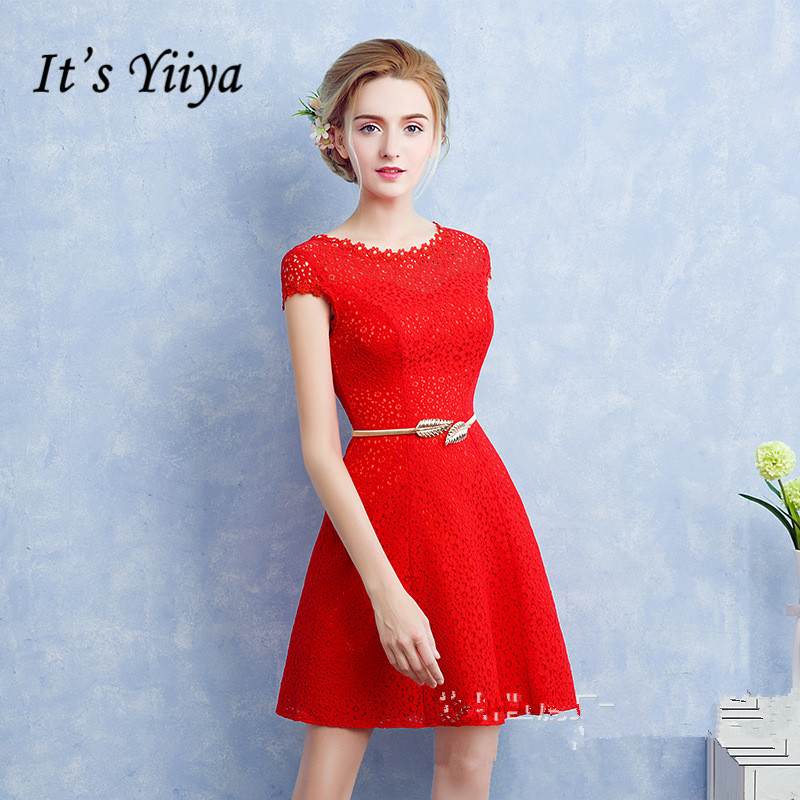 It's YiiYa 2018 Popular Short Sleeve Red Knee Length Dinner   Bridesmaids     Dress   Lace Sashes Party Short Formal   Dress   LX373
