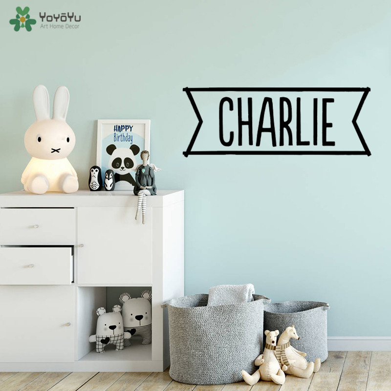 YOYOYU Wall Decal Personalised Name Sticker Kids Bedroom Vinyl Diversified Color Choice Furniture Stickers QQ214