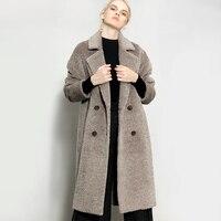 Женские длинные мягкие Albaka кашемировые пальто Повседневное толстые теплые, зимние, шерстяные пальто Новинки для женщин двубортный Высокое