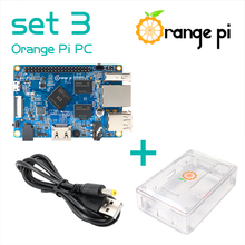 Orange Pi PC SET3 : Orange Pi PC + ABS حافظة شفافة + 4.0 مللي متر 1.7 مللي متر USB إلى تيار مستمر كابل الطاقة