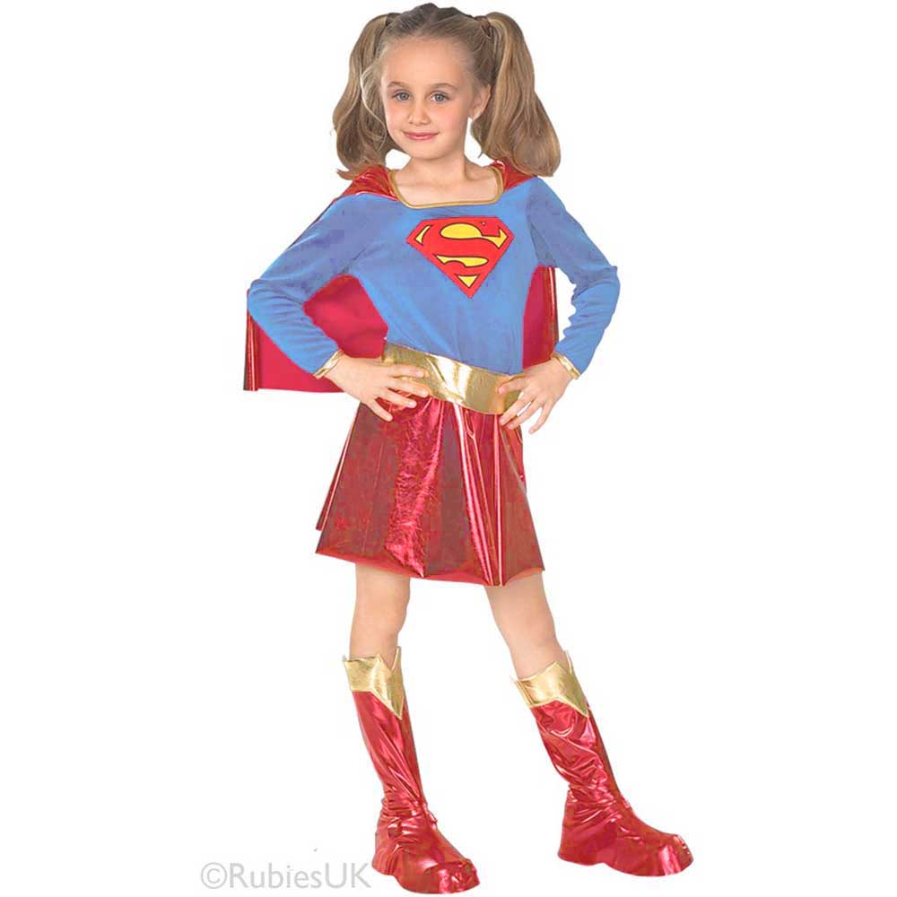 Kids Supergirl Costume Set Baby Girl Superhero Role Play Dress Cloak Boots Cover Outfit Halloween Costumes for Children Toddler