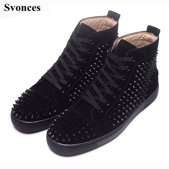 Svonces Tenis Masculino Esportivo Black Party Shoes Suede Spikes Studded Shoes  Men Brand High Top Casual Shoes Flats Sneakers b791b50b50d7