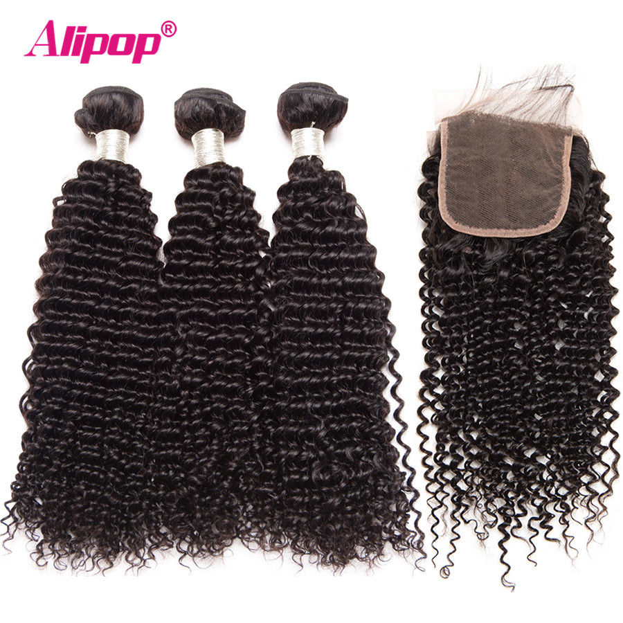 Human Hair 3 Bundles With Closure Peruvian Hair Bundles With Closure Kinky Curly Bundles ALIPOP4x4 Lace Closure Remy 4 PCS