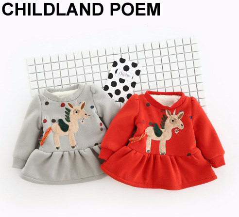 Christmas Winter Girl Dress thicken fleece Children Clothing Long Sleeve Kids Party Dresses Girls Princess 1 year birthday dress