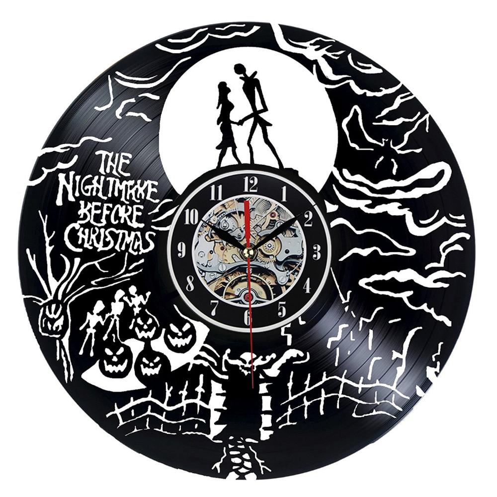 the nightmare before christmas black vinyl record clock creative cd wall clock antique home decoration horloge murale