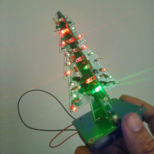 7 Color 3D Christmas Tree LED Flash DIY Kit Three Dimensional Colorful RGB  LED Circuit