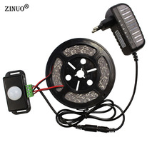 ZINUO 5M Led Strip Light 5050 300Leds LED Tape IP44 Non-waterproof +  Human Sensor Switch Detector + 12V 2A Power Adapter