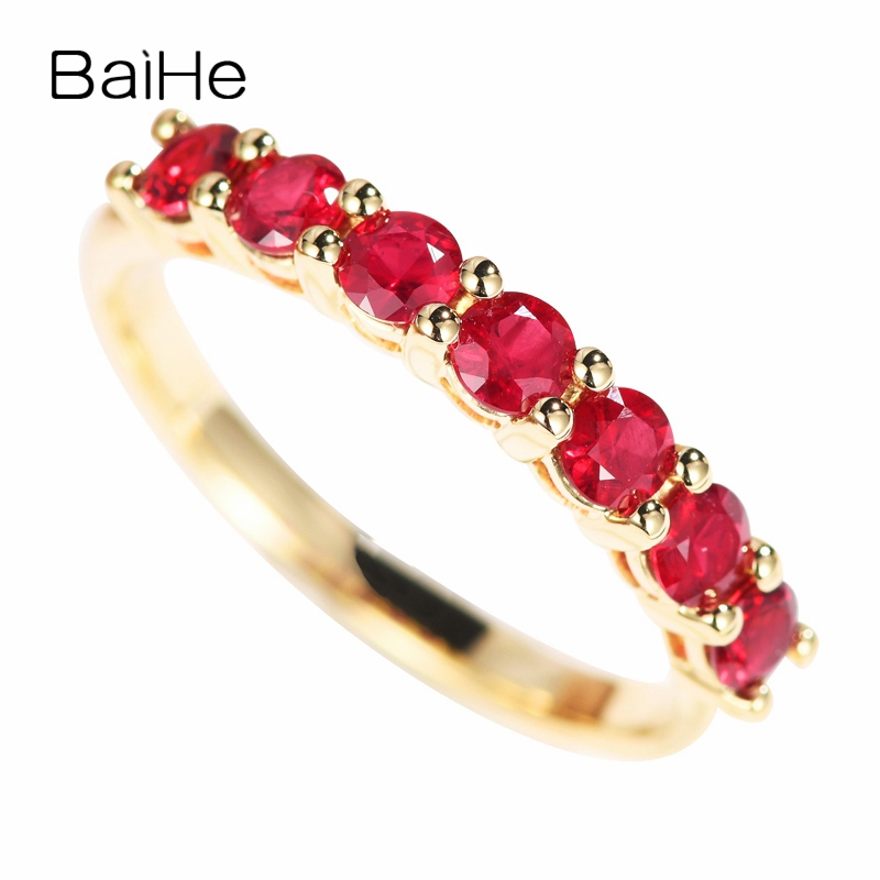BAIHE Solid 14K Yellow Gold 0.70-0.75ct Certified Round CUT 100% Genuine Natural Rubis Wedding Women Trendy Jewelry fashion Ring