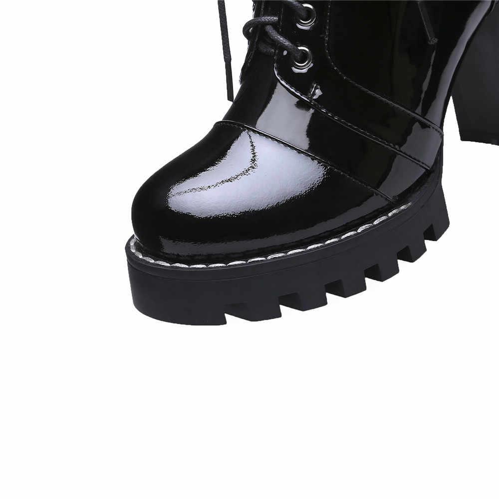 MORAZORA 2019 yüksek kalite hakiki deri çizmeler kadın lace up sonbahar kış yarım çizmeler kadınlar için platform yüksek topuklu çizmeler