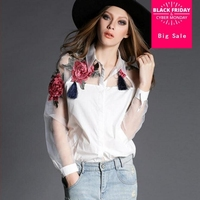 2017 spring new European leg women shirts silk stitching organza flowers printed fashion 2 colors long sleeved shirt F1518