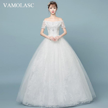 VAMOLASC Pearls Boat Neck Lace Appliques Ball Gown Wedding Dresses Illusion Short Sleeve Backless Bridal Gowns