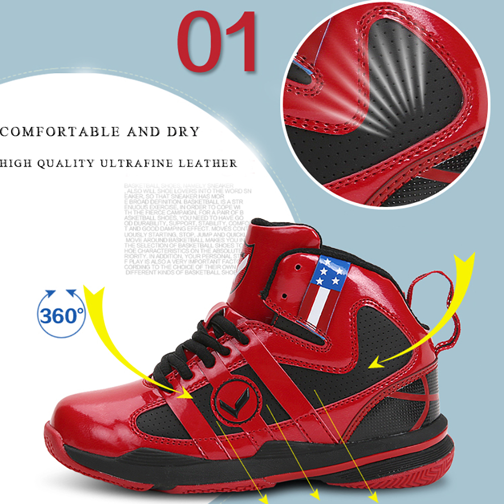 VITIKE Kids Basketball Shoes Child Fashion Sneaker for Boy Girl Team Sports Field Hockey 4, red