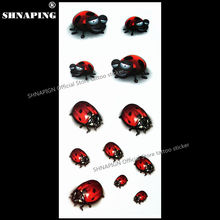 SHNAPIGN 3d Temporary Tattoo Body Art Flash Tattoo Stickers 19x9cm Waterproof Styling Tatoo Home Decor Sticker Ladybug Child