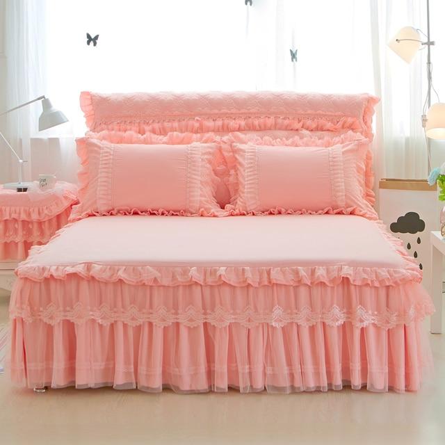 01b477d95 Reina rey tamaño sábanas de cama Conjunto para las niñas juegos de ropa de  cama rosa