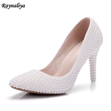 Crystal Wedding Shoes Pearl Handmade Bridal Shoes Women's Pumps Rhinestone Female High Heels Shoes Big Size XY-A0031 handmade women pumps princess shoes pearl rhinestones wedding shoes crystal adult ceremony super high heels xy a0044