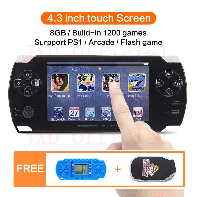 8 ГБ 4,3 дюймов сенсорный экран портативной игровой консоли построить в 1200no-repeat игры для PS1/Arcad/flash/gba/fc/gbc/smd/sfc MP3/4