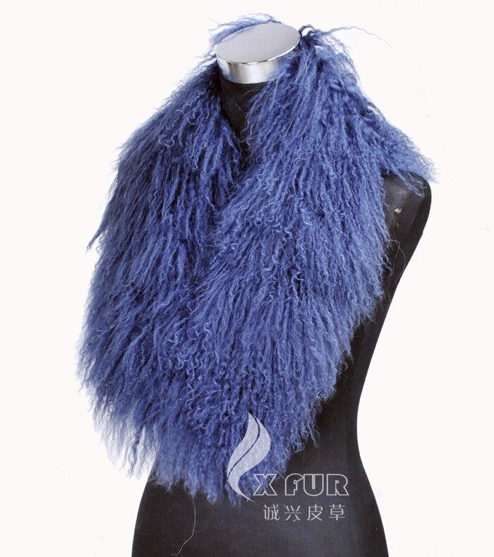 CX-A-52P из натуральной монгольской Овцы меховой воротник из натурального меха ягненка шарф шарфы накидка дизайн для леди - Цвет: NAVY