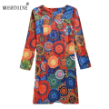 MOSRTOINE Women Autumn And Winter Dress Casual Full Sleeve Floral Print Women Dress Female Office Dresses Plus size 4XL Fashion